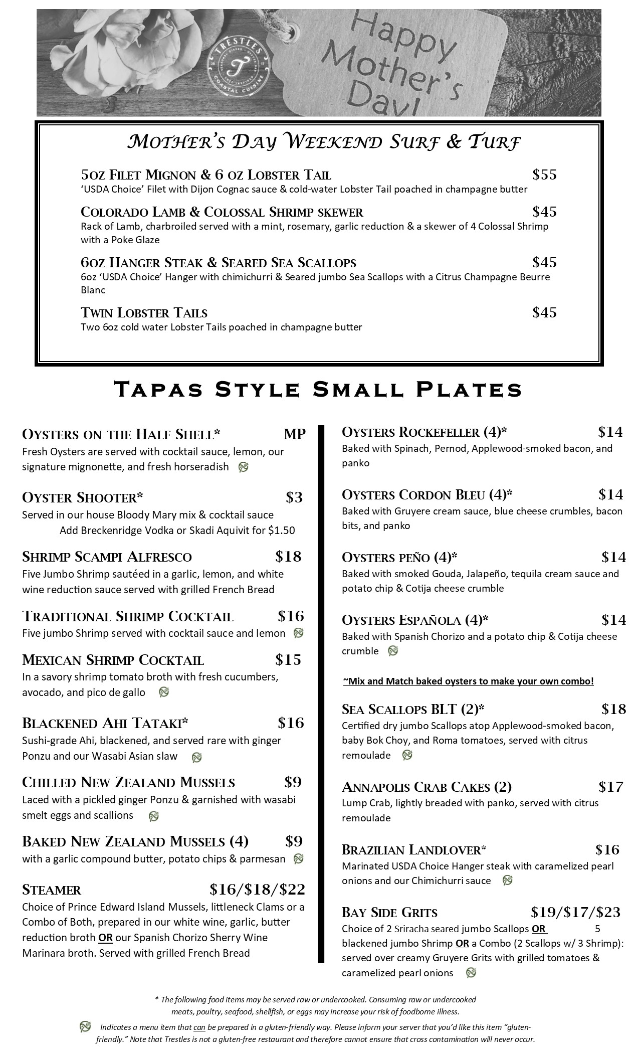 Menu- Tapas Mothersday2019